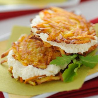 Potato and carrot fritters stuffed with robiola