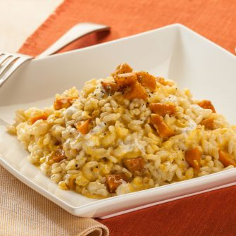 Risotto with pumpkin and Robiola with Artichoke and Thyme