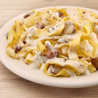 Tagliatelle with mushrooms and Robiola Osella with Truffle
